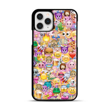 Load image into Gallery viewer, happy emoji pattern iPhone 11 Pro Case, Black Plastic Case | Webluence.com