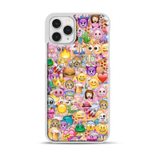 Load image into Gallery viewer, happy emoji pattern iPhone 11 Pro Case, White Plastic Case | Webluence.com