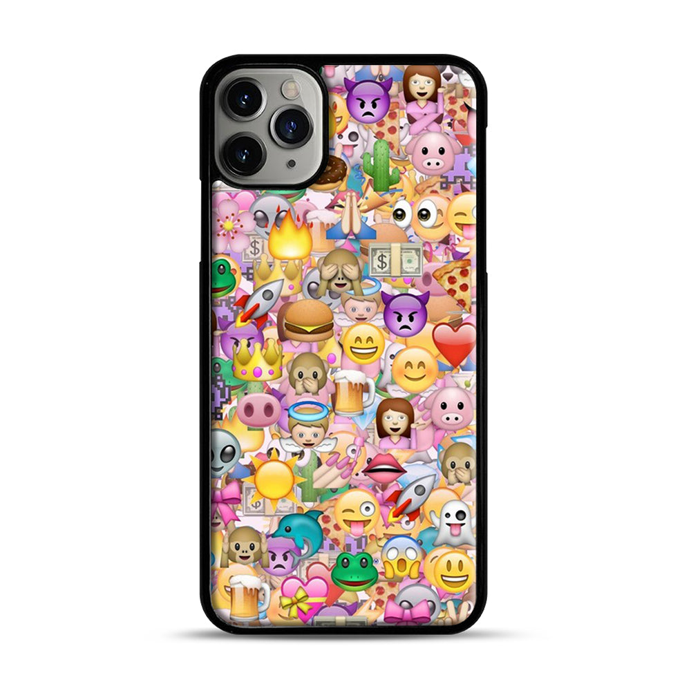 happy emoji pattern iPhone 11 Pro Max Case.jpg, Black Plastic Case | Webluence.com