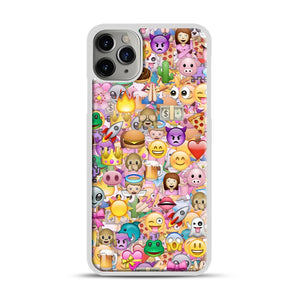 happy emoji pattern iPhone 11 Pro Max Case.jpg, White Plastic Case | Webluence.com
