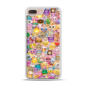 happy emoji pattern iPhone 7 Plus/8 Plus Case, White Rubber Case | Webluence.com