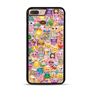 happy emoji pattern iPhone 7 Plus/8 Plus Case, Black Rubber Case | Webluence.com