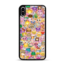 Load image into Gallery viewer, happy emoji pattern iPhone XS Max Case, Black Plastic Case | Webluence.com