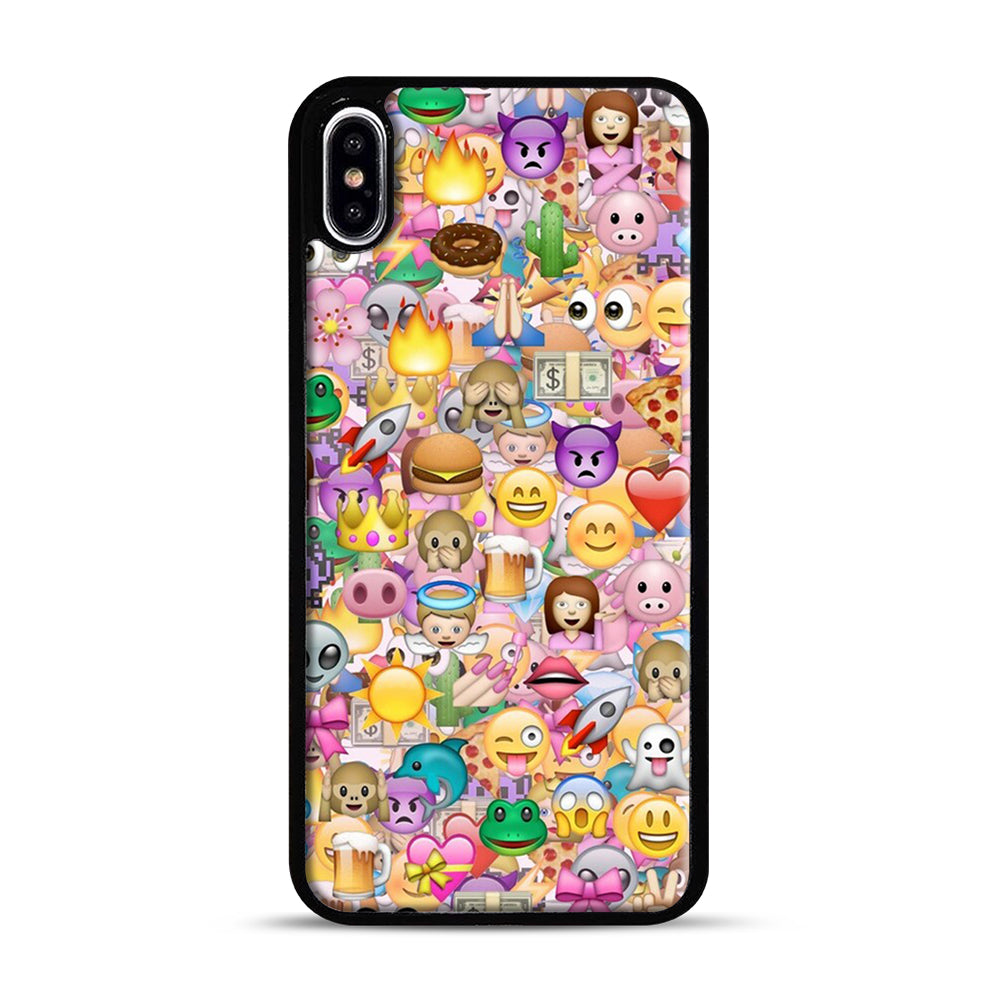 happy emoji pattern iPhone XS Max Case, Black Plastic Case | Webluence.com