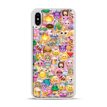 Load image into Gallery viewer, happy emoji pattern iPhone XS Max Case, White Plastic Case | Webluence.com