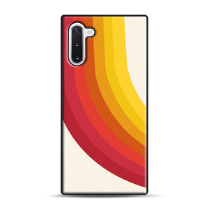 retro 70s style throwback vibes rainbow Samsung Galaxy Note 10 Case, Black Rubber Case | Webluence.com