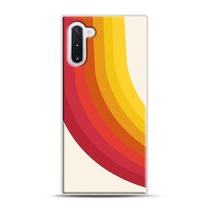 retro 70s style throwback vibes rainbow Samsung Galaxy Note 10 Case, White Rubber Case | Webluence.com