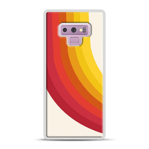 retro 70s style throwback vibes rainbow Samsung Galaxy Note 9 Case, White Rubber Case | Webluence.com