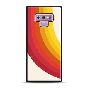 retro 70s style throwback vibes rainbow Samsung Galaxy Note 9 Case, Black Rubber Case | Webluence.com