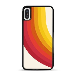 retro 70s style throwback vibes rainbow iPhone X/XS Case, Black Rubber Case | Webluence.com