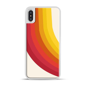 retro 70s style throwback vibes rainbow iPhone X/XS Case, White Rubber Case | Webluence.com