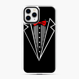 tuxedo Red Bow iPhone 11 Pro Case, White Plastic Case | Webluence.com