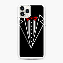 Load image into Gallery viewer, tuxedo Red Bow iPhone 11 Pro Case, White Rubber Case | Webluence.com