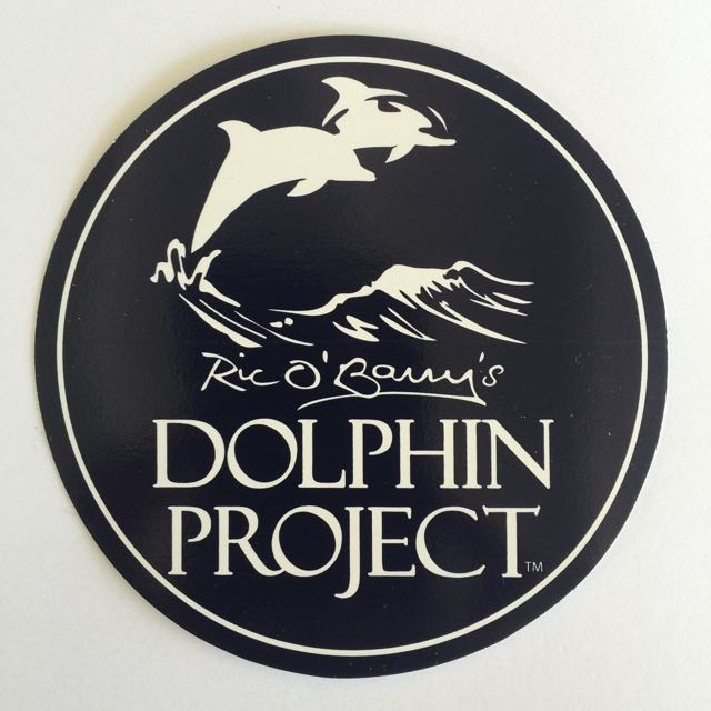 black and white dolphin project logo decal