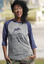 Load image into Gallery viewer, dolphin project blue raglan baseball tee