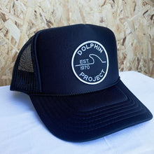 Load image into Gallery viewer, Dolphin project 1970 trucker hat black