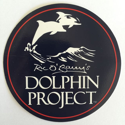 Dolphin project black white and red logo decal