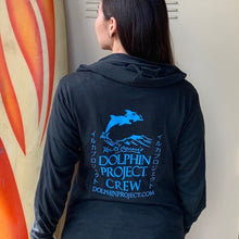Load image into Gallery viewer, Dolphin project black and teal crew hoodie