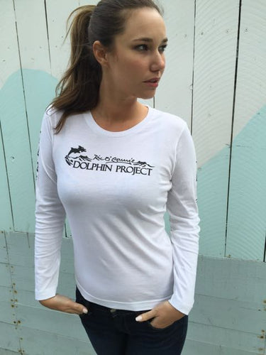 white long sleeve graphic tee dolphin project
