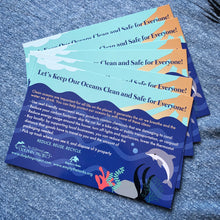 Load image into Gallery viewer, Let's keep our oceans clean educational postcard front side dolphin project
