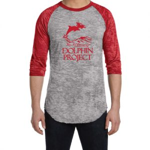 burnout baseball tee red graphic dolphin project