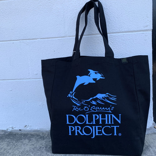 Dolphin Project black and teal logo tote bag