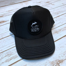 Load image into Gallery viewer, Dolphin Project Black Foam Trucker Hat with Round Black Logo Patch