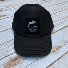 Load image into Gallery viewer, Dolphin Project Black Foam Trucker Hat with Square Black Logo Patch