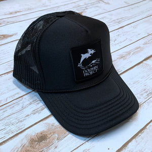 Dolphin Project Black Foam Trucker Hat with Square Black Logo Patch
