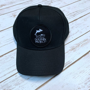 Dolphin Project Black Ecowash Dad Cap with Round Black Patch