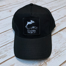 Load image into Gallery viewer, Dolphin Project Black Twill Hat with Square Black Patch