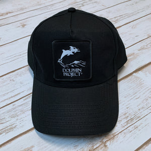 Dolphin Project Black Twill Hat with Square Black Patch