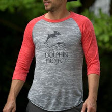 Load image into Gallery viewer, red sleeve baseball tee dolphin project graphic