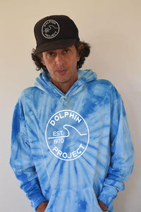 Unisex Dolphin Project EST 1970 Blue Tie Dye Pullover Hoodie