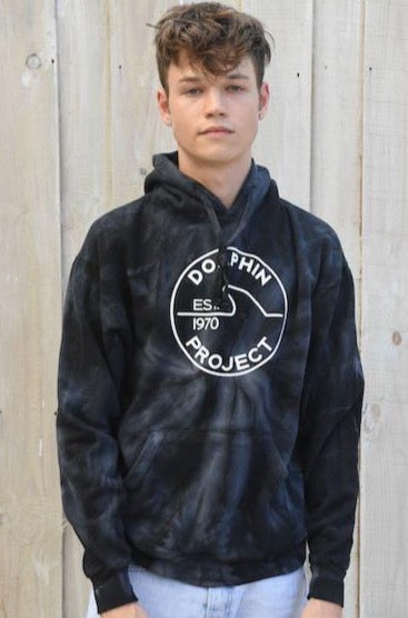 Unisex Dolphin Project EST 1970 Black Tie Dye Pullover Hoodie
