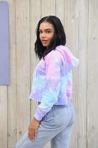 Dolphin Project Cotton Candy Tie Dye Crop Hoodie