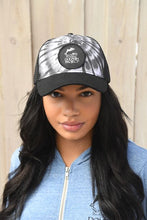 Load image into Gallery viewer, Black Tie Dye Foam Trucker Hat with Round Black Logo Patch