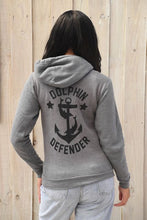 Load image into Gallery viewer, gray unisex zip up dolphin defender hoodie