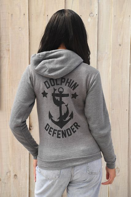 gray unisex zip up dolphin defender hoodie