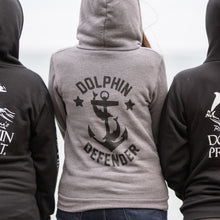 Load image into Gallery viewer, dolphin defender grey anchor hoodie