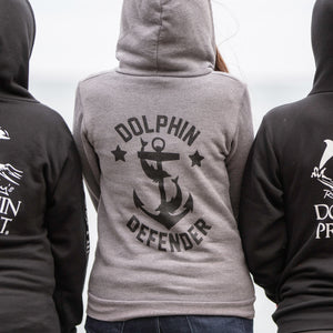 dolphin defender grey anchor hoodie