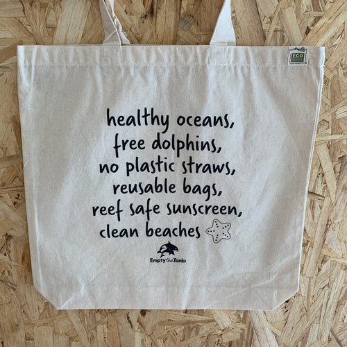 ocean conservation tote bag empty the tanks