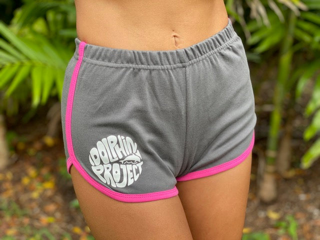Dolphin Project Grey/Fuchsia Vintage Dolphin Shorts with White Design