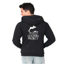 Load image into Gallery viewer, black hoodie dolphin project logo print
