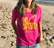 Load image into Gallery viewer, end captivity ladies scoop tee dolphin project