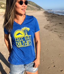 free bali dolphins v neck ladies dolphin sanctuary dolphin project