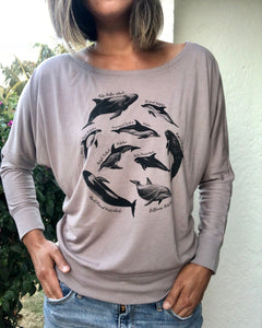 Ladies Taiji Dolphin Species Flowy Long Sleeve Tee