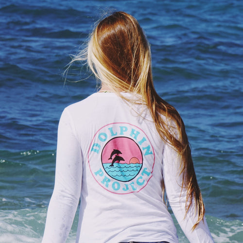 dolphin project retro longsleeve tee back graphic