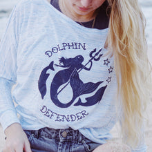 Load image into Gallery viewer, dolphin defender mermaid long sleeve tee