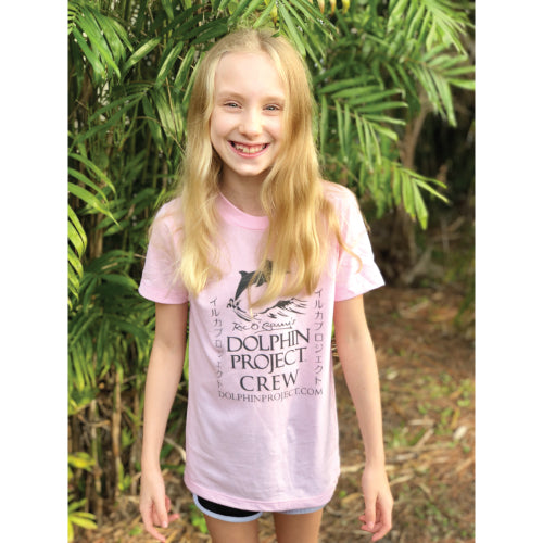 kids pink dolphin project crew tee